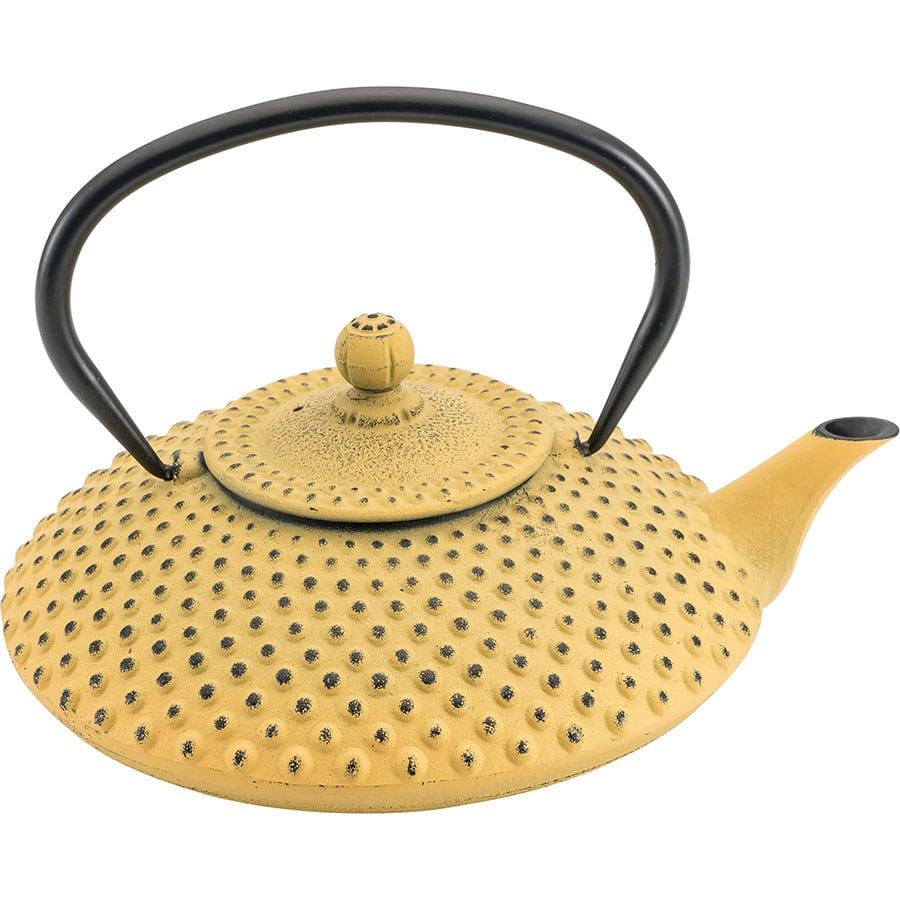 תאון יפני עם מסננת יציקת ברזל בצבע צהוב תוצרת CutterPeeler.